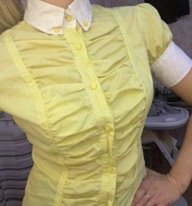 Блуза рубашка офисная желтая