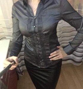 Блуза рубашка офисная серая