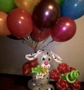Фигура из воздушных шариков Далматинец с букетом