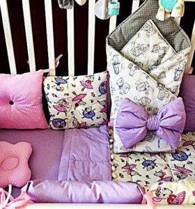 Комплект в кроватку, лоскутное одеяло, конверт