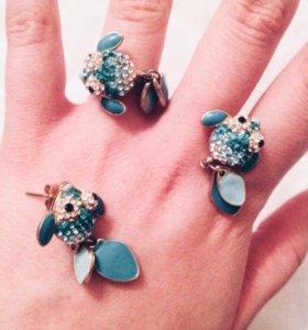 💙Набор глазурных бижутерий кольцо серьги💙💙💙