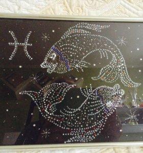 Картины знаки зодиака декор стразами А 4