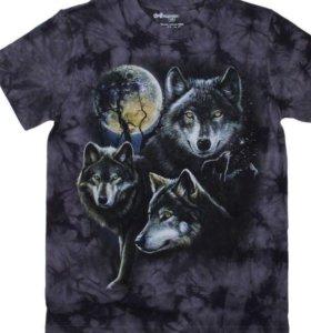 """Мужская футболка 3D """" Волчья луна""""."""