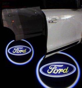 Лазерная проекция логотипа в двери авто FORD