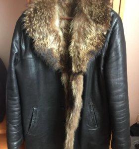 Зимняя куртка кожа,мех.