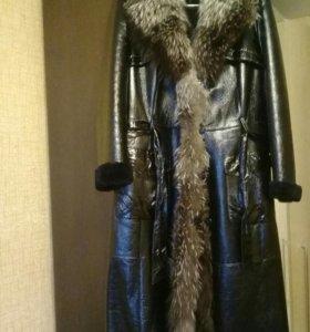 Дубленка женская натуральная с мехом чернобурки