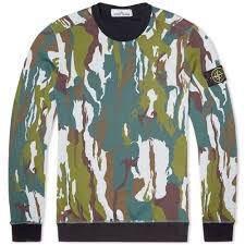 Stone Island Green Camo Crew Neck Sweatshirt