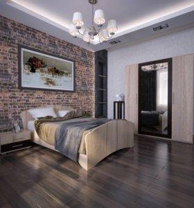 Спальня Кровать 4920, тумба 1500, шкаф 10440.