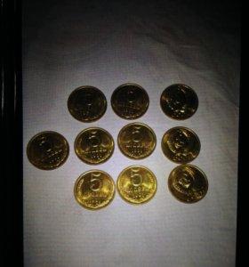 Продам монеты 5 копеек 1991 года