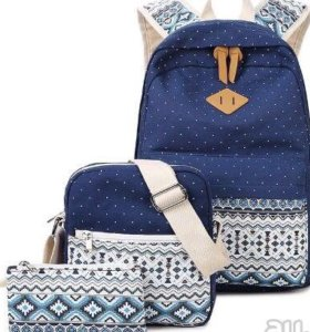 Рюкзак, сумка и косметичка темно синие с орнаменто