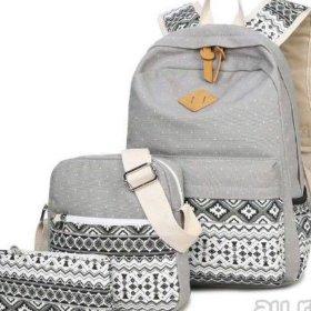 Рюкзак, сумка и косметичка, набор, цвет: серый