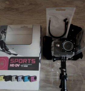 Экшен камера с аква-боксом scam sj4000