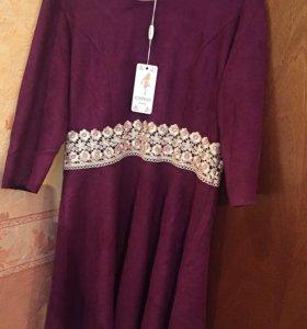 Новое замшевое платье 46 размер