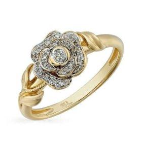 Кольцо Роза.бриллианты.жёлтое золото.
