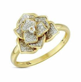 Кольцо Роза крупная.жёлтое золото.бриллианты.
