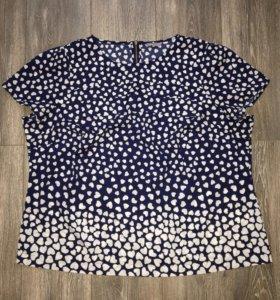 Блузка шифоновая синяя в сердечко