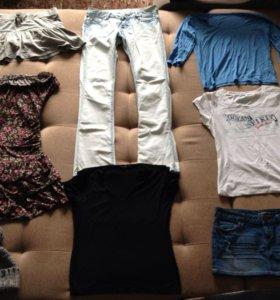 Очень много одежды! Платье, юбка, пуловер.