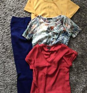 Комплектом: брючки и три футболки/блузы