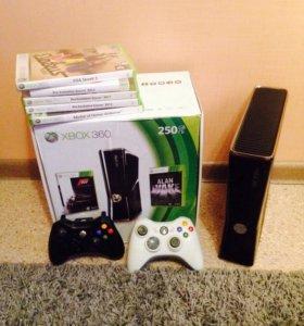 X box 360 slim 250 gb + игры