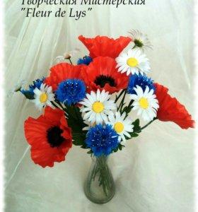Полевые цветы ручной работы из полимерной глины