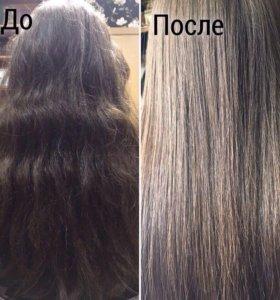 Кератиновое выпрямление и полировка волос