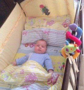 Бортики для детской кроватки в идеале + кпб 2 шт