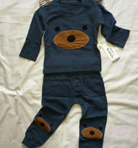 80-90 р-р. Новый синий детский костюм с мордашками