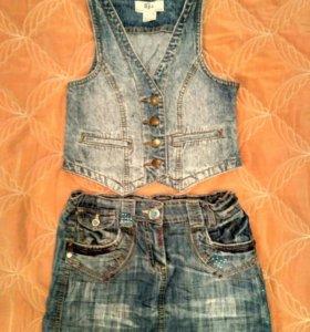 2 джинсовые юбки, джинсовый  жилет