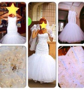 Свадебное платье ручной работы и туфли