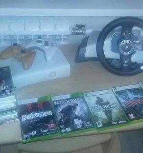 Xbox 360 с играми и рулем + 2 геймпада