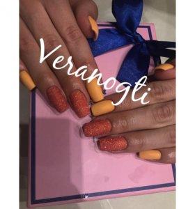 Гель маникюр персик блестки