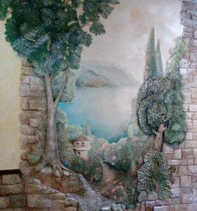 Отделка интерьера,обьемная роспись,барельеф ,арки