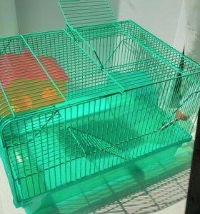 БОЛЬШАЯ клетка для ХОМЯКА и ГРЫЗУНОВ+дом+поилка