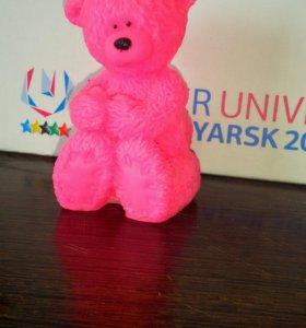 Мыло мишка  тедди розовый ручной работы