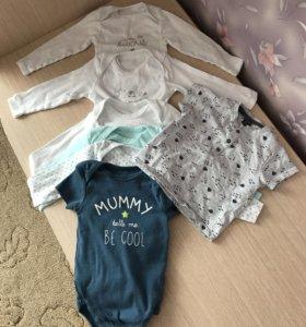 3 пижамки, 5 бодиков +футболка (КИАБИ) новые!
