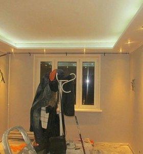 Натяжные потолки +гипса-картон стены потолок