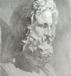 Портрет Зевса. Картина карандашом.