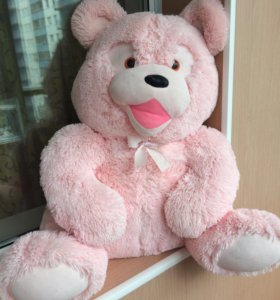 Мягкая игрушка розовый медведь