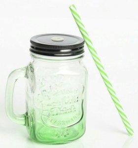 Новая кружка-банка Mason Jar зеленая