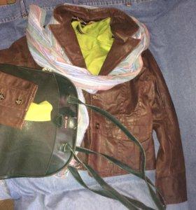 4вещи48р вместе кожаная куртка джемпер шарф