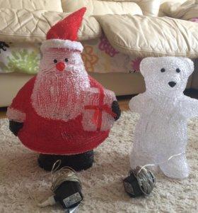 Светящиеся Дед Мороз и медведь