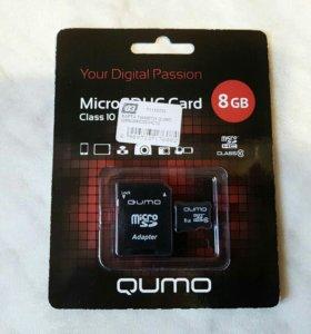 Карта памяти qumo 8Gb Micro sdнс Class10 + адаптер