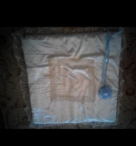 Конверт-одеяло+бант голубой и накидка(на выписку)