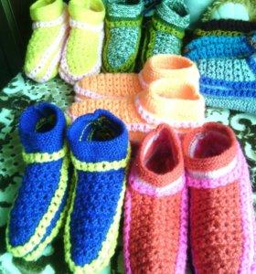 Тапочки ручной вязки