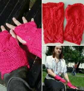 Манжеты розовые женские handmade