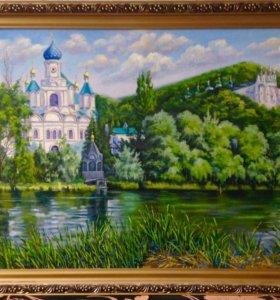 """Картина маслом """"Святогорский монастырь"""""""