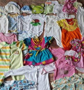 Пакет вещей на девочку размер 56-74