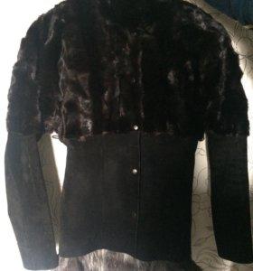 Куртка замша с норкой