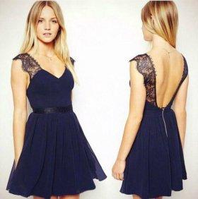 Новое синее платье размера S на рост до 165