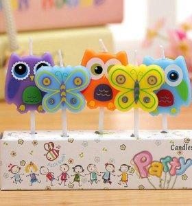 Свечки на торт совы,бабочки